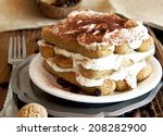 delicious italian tiramisu with ... | Shutterstock . vector #208282900
