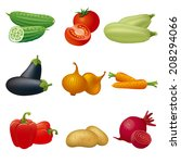 vegetables icon set | Shutterstock .eps vector #208294066