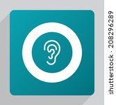 flat ear icon  white on green...   Shutterstock .eps vector #208296289