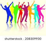 dancing people silhouettes | Shutterstock .eps vector #208309930