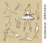 vector sketch of girl's... | Shutterstock .eps vector #208311613