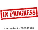 stamp with text in progress... | Shutterstock .eps vector #208312909