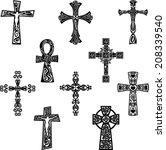 tribal crosses set   Shutterstock .eps vector #208339540