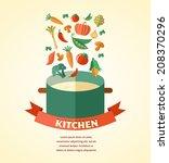 vegetarian and vegan  veganism...   Shutterstock .eps vector #208370296