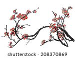 chinese painting of flowers ... | Shutterstock . vector #208370869