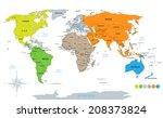 political world map on white...   Shutterstock . vector #208373824