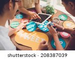 group of designers working on... | Shutterstock . vector #208387039