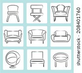 sofa icons  sketch sofa  chair... | Shutterstock .eps vector #208401760