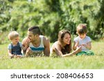 happy family with little... | Shutterstock . vector #208406653