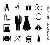 set of black silhouette wedding ... | Shutterstock . vector #208408468