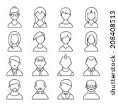set of black and white people... | Shutterstock . vector #208408513