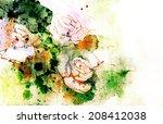 white roses grunge illustration ... | Shutterstock . vector #208412038