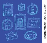 set picture frames with... | Shutterstock .eps vector #208412629