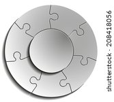 seven piece flat puzzle round... | Shutterstock . vector #208418056