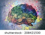 doodles brain illustration   Shutterstock . vector #208421530