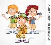 schoolchildren  vector | Shutterstock .eps vector #208423840