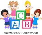 kids standing around alphabet... | Shutterstock .eps vector #208429000