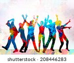dancing people silhouettes | Shutterstock .eps vector #208446283