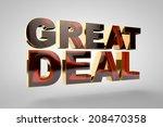 3d golden text   great deal | Shutterstock . vector #208470358