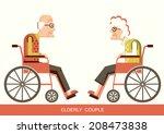 elderly people in wheelchairs... | Shutterstock .eps vector #208473838