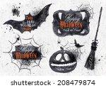 halloween set  drawn symbols...