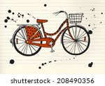 stylish hand drawn city bike on ... | Shutterstock .eps vector #208490356