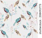 bird with flower seamless... | Shutterstock .eps vector #208493773