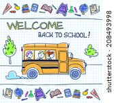children riding school bus.... | Shutterstock .eps vector #208493998