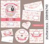 the wedding design template set ... | Shutterstock .eps vector #208496740