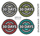30 days money back guarantee on ... | Shutterstock .eps vector #208507699