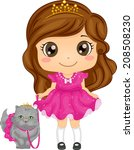 Stock vector illustration of a cute girl dressed as a princess taking her persian cat for a walk 208508230