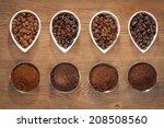 overhead view of four varieties ... | Shutterstock . vector #208508560