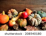 pumpkins apples with fall... | Shutterstock . vector #208540180