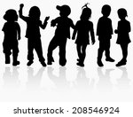 dancing group | Shutterstock .eps vector #208546924