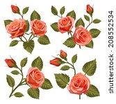 vector set of flowers isolated...   Shutterstock .eps vector #208552534