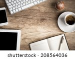 wooden  table with office ... | Shutterstock . vector #208564036