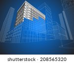 townscape wire frame non... | Shutterstock .eps vector #208565320