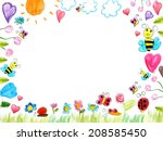 meadow frame child drawings... | Shutterstock . vector #208585450