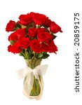 Stock photo  dozen red roses in a glass vase and a white bow isolated 20859175