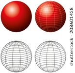 Red Sphere With Meridians  ...