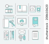 flat thin line icons set of... | Shutterstock .eps vector #208610620