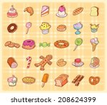 sweets icons set  vector... | Shutterstock .eps vector #208624399