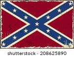 confederate grunge flag. vector ... | Shutterstock .eps vector #208625890