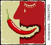 vintage extra spicy poster with ...   Shutterstock .eps vector #208625923