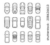 car icons top view  | Shutterstock .eps vector #208626613