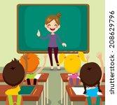 beautiful happy young teacher... | Shutterstock .eps vector #208629796