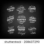 set of vintage retro coffee... | Shutterstock .eps vector #208637290