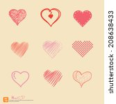 new heart hand draw vintage and ... | Shutterstock .eps vector #208638433