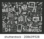 doodle media background | Shutterstock .eps vector #208639528