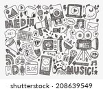 doodle media background | Shutterstock .eps vector #208639549